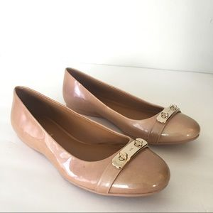 Coach Oswald Nude Pink Pearl Patent Leather Flats